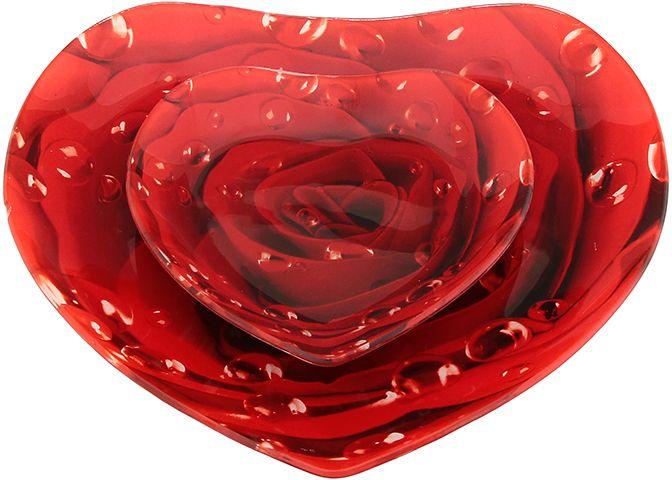 Набор блюд Elan Gallery Сердце. Роза, 2 предмета890138Не важно, какая у Вас посуда, в цветочек, белая, цветная, в горошек или полоску, посуда из стекла подойдет к любой. Придает легкость, воздушность сервировке стола и создаст особую атмосферу праздника.