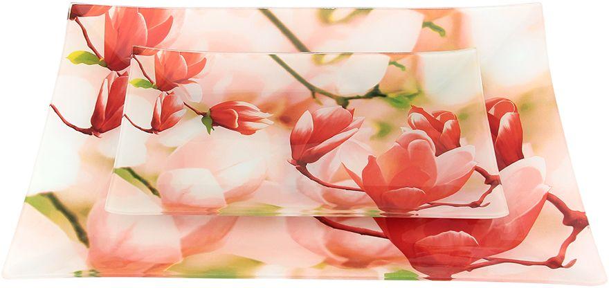 Набор тарелок Elan Gallery Соцветие магнолии, 2 предмета890144Не важно, какая у Вас посуда, в цветочек, белая, цветная, в горошек или полоску, посуда из стекла подойдет к любой. Придает легкость, воздушность сервировке стола и создаст особую атмосферу праздника.