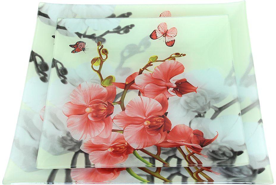 Набор тарелок Elan Gallery Цветочный сад, 2 предмета890156Не важно, какая у Вас посуда, в цветочек, белая, цветная, в горошек или полоску, посуда из стекла подойдет к любой. Придает легкость, воздушность сервировке стола и создаст особую атмосферу праздника.
