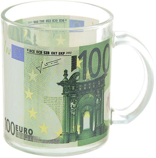 Кружка Elan Gallery 100 евро, 300 мл890164Кружка выполненная из стекла, станет оригинальным подарком! Идеальна для тех, кто предпочитает большие кружки и для любителей душевных чаепитий! Объем 300 мл