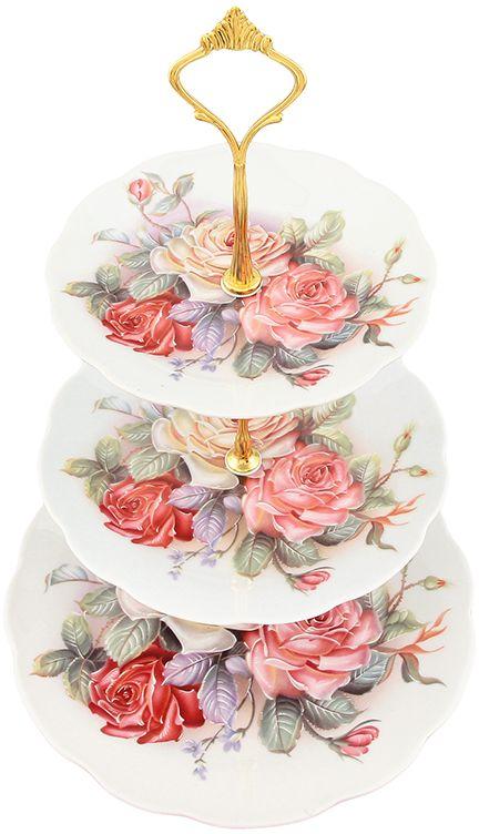 Этажерка для фруктов Elan Gallery Цветочная карусель, 3-х ярусная, 23 х 23 х 34 см970047Оригинальная ваза для фруктов может стать чудесным украшением не только кухонного стола, ее можно поставить также и в гостиной комнате. Использовать не только под фрукты, но и разные кондитерские изделия. Размер тарелочек 23 см, 18 см, 15 см Высота 34 см Не рекомендуется применять абразивные моющие средства.