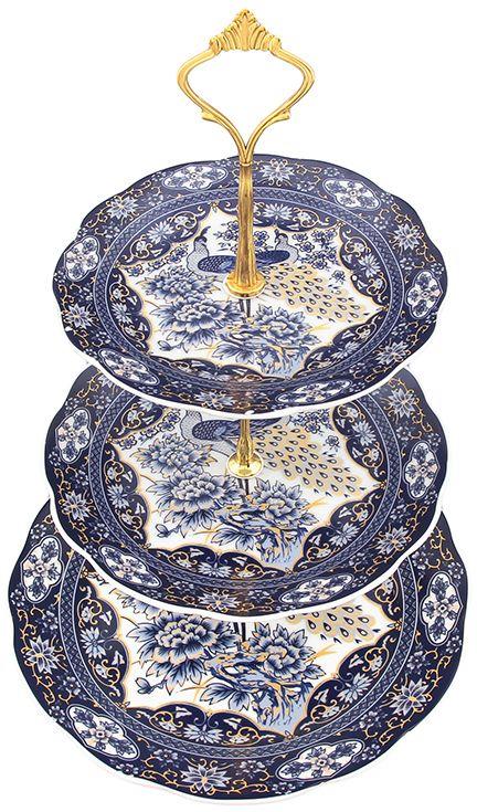 Этажерка для фруктов Elan Gallery Павлин синий, 3-х ярусная, 23 х 23 х 34 см970049Оригинальная ваза для фруктов может стать чудесным украшением не только кухонного стола, ее можно поставить также и в гостиной комнате. Использовать не только под фрукты, но и разные кондитерские изделия. Размер тарелочек 23 см, 18 см, 15 см Высота 34 см Не рекомендуется применять абразивные моющие средства.