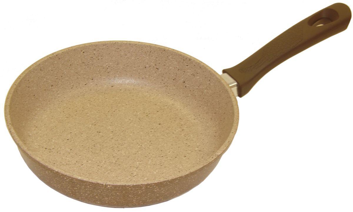 Сковорода Helper Granit, с антипригарным покрытием, цвет: мокко с гранитной крошкой. Диаметр 26 смGM5026Сковорода HELPER GRANIT выполнена из литого толстостенного алюминия , что позволяет равномерно распределять и прекрасно удерживать тепло, экономить электроэнергию и готовить пищу быстрее. Значительная толщина стенок и дна исключает деформацию корпуса изделий, гарантирует долговечность посуды. Снабжена антипригарным покрытием GREBLON C3+ с усиленным грунтовым слоем, дополнительно усиленное гранитной крошкой . Изделие не содержит кадмия и свинца, а также вредной примеси PFOA, оно абсолютно экологично и безопасно для здоровья. Антипригарное покрытие обладает высокой прочностью, пища не пригорает и сохраняет полезные свойства.Ручка выполнена из бакелита. Подходит для газовых, электрических и стеклокерамических плит. Можно мыть в посудомоечной машине.