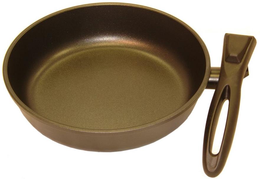 Сковорода Helper Gurman, со съемной ручкой, с антипригарным покрытием, цвет: черный. Диаметр 22 смGN4622Сковорода HELPER GURMAN выполнена из литого толстостенного алюминия , что позволяет равномерно распределять и прекрасно удерживать тепло, экономить электроэнергию и готовить пищу быстрее. Значительная толщина стенок и дна исключает деформацию корпуса изделий, гарантирует долговечность посуды. Снабжена антипригарным покрытием GREBLON C2+ . Изделие не содержит кадмия и свинца, а также вредной примеси PFOA, оно абсолютно экологично и безопасно для здоровья. Антипригарное покрытие обладает высокой прочностью, пища не пригорает и сохраняет полезные свойства. Изделие оснащено удобной, съемной бакелитовой ручкой. Подходит для газовых, электрических и стеклокерамических плит. Можно мыть в посудомоечной машине.