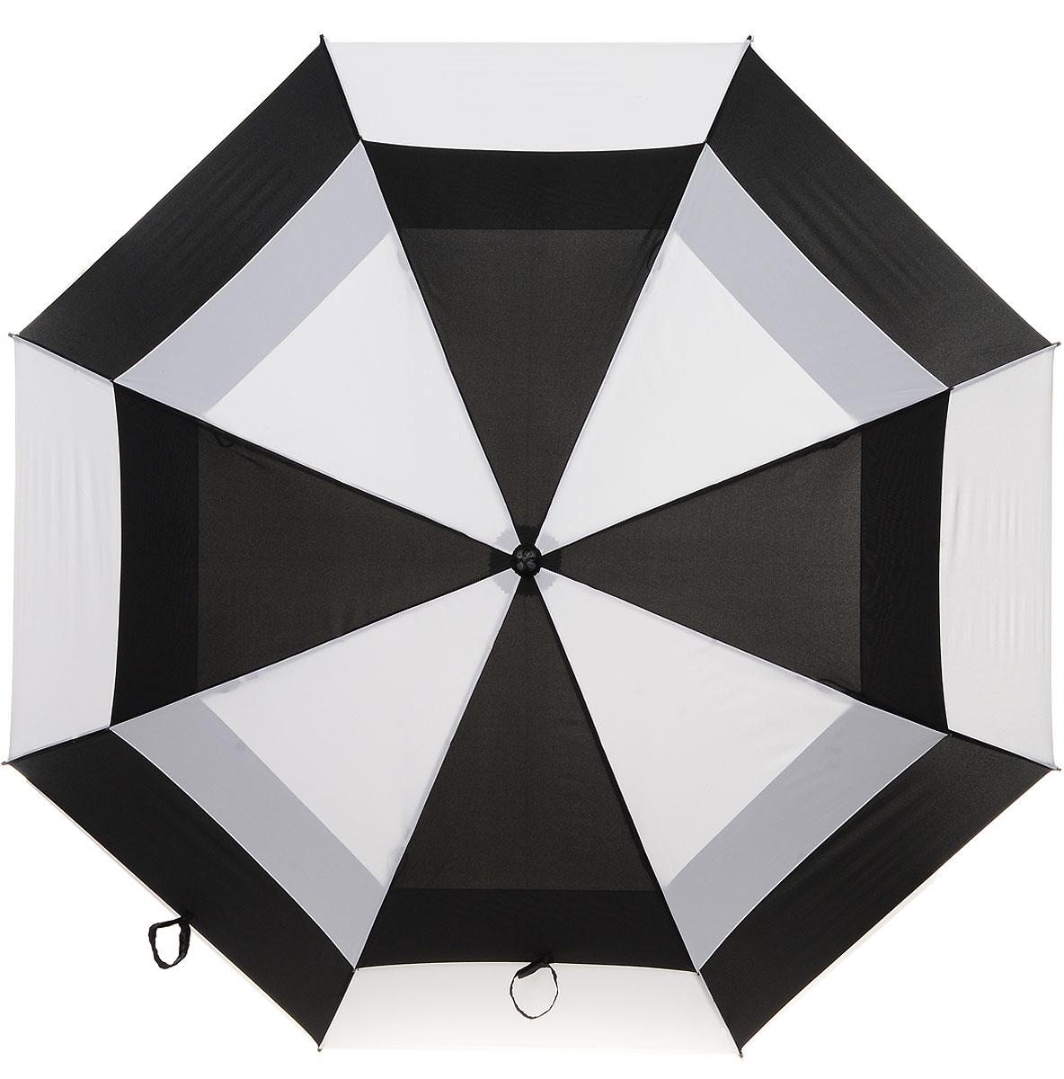 Зонт-гольфер мужской Fulton Stormshield, механический, цвет: черный, белый. S669-2986S669-2986 BlackWhiteМеханический мужской зонт-гольфер Fulton Clearview надежно защитит вас от дождя. Каркас зонта включает 8 спиц из фибергласса с пластиковыми наконечниками. Стержень также изготовлен из фибергласса. Купол зонта выполнен из высококачественного полиэстера и оформлен оригинальным принтом. Изделие дополнено удобной пластиковой рукояткой с каучуковым покрытием. Зонт механического сложения: купол открывается и закрывается вручную до характерного щелчка. Модель дополнительно застегивается с помощью хлястика на липучку. В комплект также входит чехол на липучке. Такой зонт станет стильным аксессуаром, который подчеркнет ваш образ.