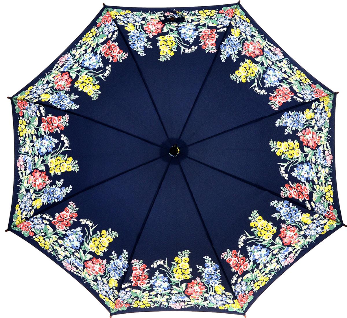 Зонт-трость женский Cath Kidston Kensington, механический, цвет: темно-синий, желтый, зеленый, розовый. L541-3142L541-3142 HerbaceousBorderЯркий механический зонт-трость Cath Kidston Kensington даже в ненастную погоду позволит вам оставаться стильной и элегантной. Каркас зонта включает 8 спиц из фибергласса с деревянным наконечниками. Стержень изготовлен из дерева. Купол зонта выполнен из износостойкого полиэстера и оформлен цветочным принтом. Изделие дополнено удобной рукояткой из гладкого дерева. Зонт механического сложения: купол открывается и закрывается вручную до характерного щелчка. Модель дополнительно застегивается с помощью двух хлястиков: на кнопку и липучку с декоративной пуговицей. Такой зонт не только надежно защитит вас от дождя, но и станет стильным аксессуаром, который идеально подчеркнет ваш неповторимый образ.