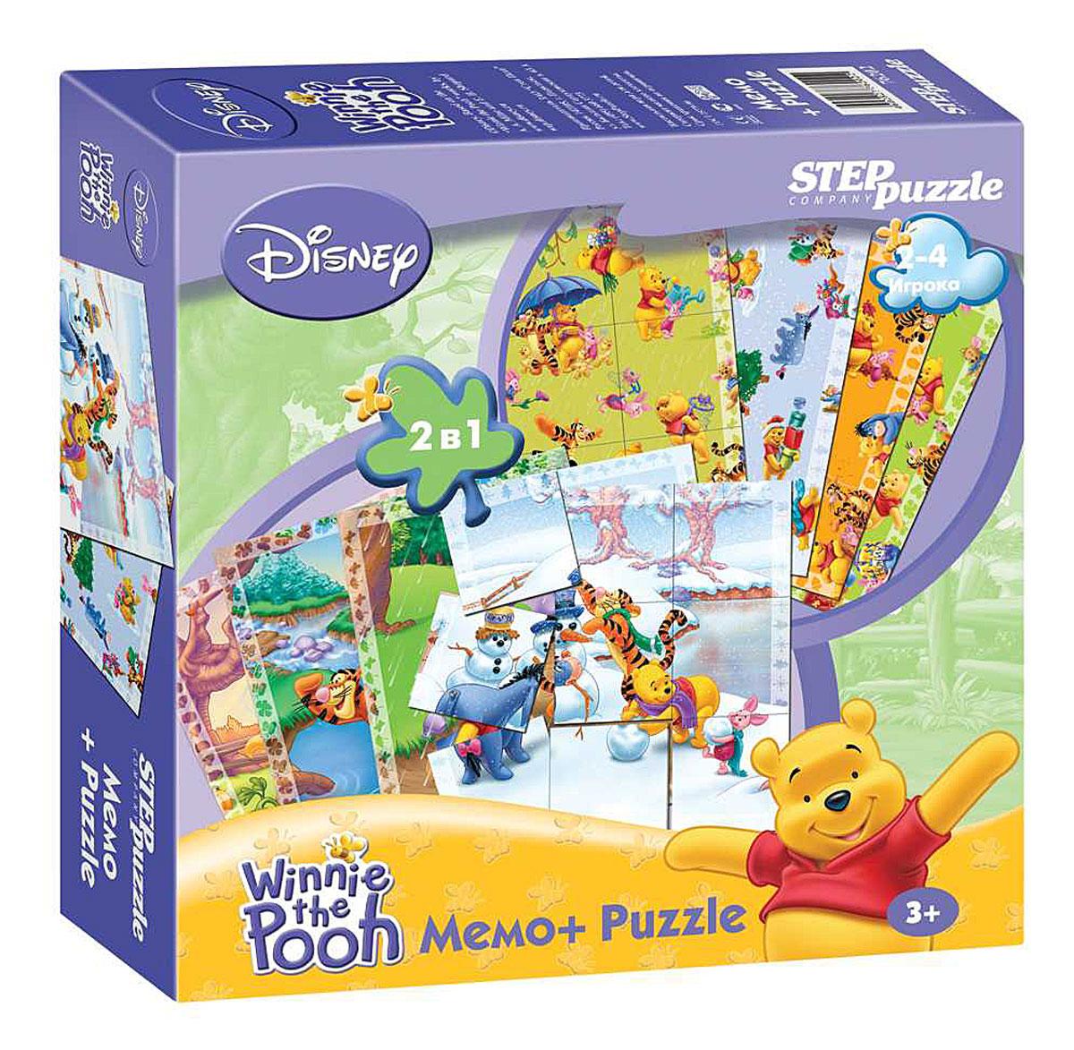 Step Puzzle Мемо и пазл Медвежонок Винни76202Набор Step Puzzle Медвежонок Винни состоит из двух игр. В первом случае дети наперегонки собирают картинки-пазлы, кто первый собрал, тот и выиграл. Для усложнения данного варианта используют принцип игры в Memo: карточки переворачивают лицевой стороной вниз и игроки, в порядке очерёдности, их открывают, стараясь открыть те картинки, которые относятся к их Puzzle. В случае ошибки, карточка переворачивается обратно, и ход переходит к следующему игроку. Во втором случае используется сторона карточек с маленькими фигурками. Их нужно быстрее всех собрать в цельную квадратную картинку (3 х 3) таким образом, чтобы все фигурки состыковывались. Такие игры развивают наблюдательность, память, дух соревнования.