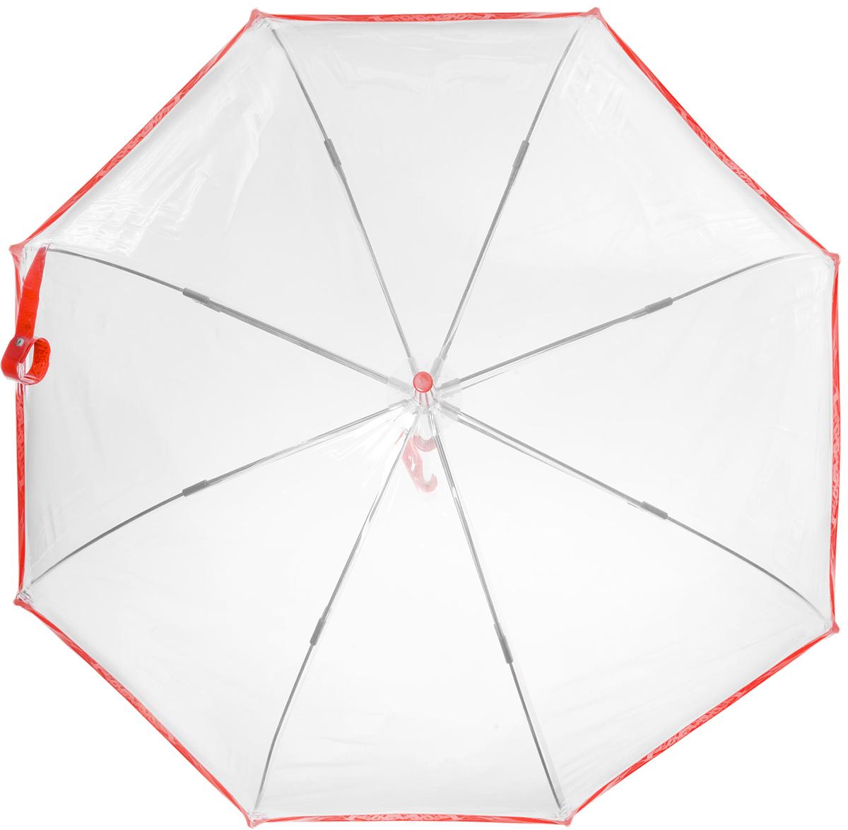 Зонт-трость женский Bird cage, механический, цвет: прозрачный, красныйL041 1F025Стильный куполообразный зонт-трость Bird cage, закрывающий голову и плечи, даже в ненастную погоду позволит вам оставаться элегантной. Каркас зонта выполнен из 8 спиц из фибергласса, стержень изготовлен из стали. Купол зонта выполнен из прозрачного ПВХ. Рукоятка закругленной формы разработана с учетом требований эргономики и изготовлена из пластика. Зонт имеет механический тип сложения: купол открывается и закрывается вручную до характерного щелчка. Такой зонт не только надежно защитит вас от дождя, но и станет стильным аксессуаром. Характеристики: Материал: ПВХ, сталь, фибергласс, пластик. Диаметр купола: 89 см. Цвет: прозрачный, красный. Длина стержня зонта: 84 см. Длина зонта (в сложенном виде): 94 см. Вес: 540 г. Артикул: L041 1F025.