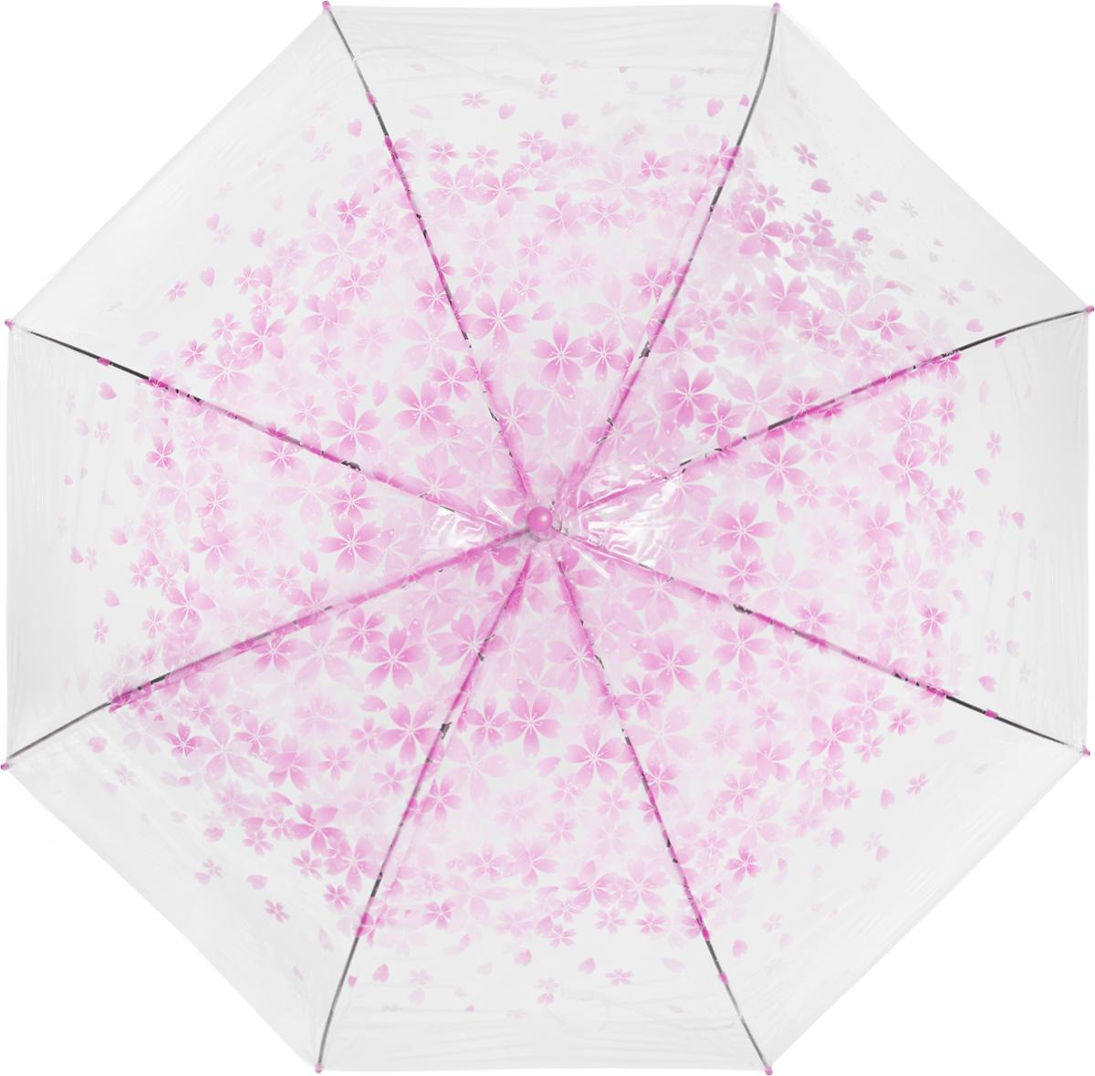 Зонт женский Эврика, цвет: прозрачный, розовый. 9750697506Зонт-трость Эврика выполнен из прозрачного полиэтилена и оформлен цветочным принтом. Благодаря своему изяществу и утонченности орнамента он способен украсить даже самый пасмурный день. Лёгкий, практичный зонт-полуавтомат послужит верным спутником дамы, желающей выглядеть стильно в любую погоду.
