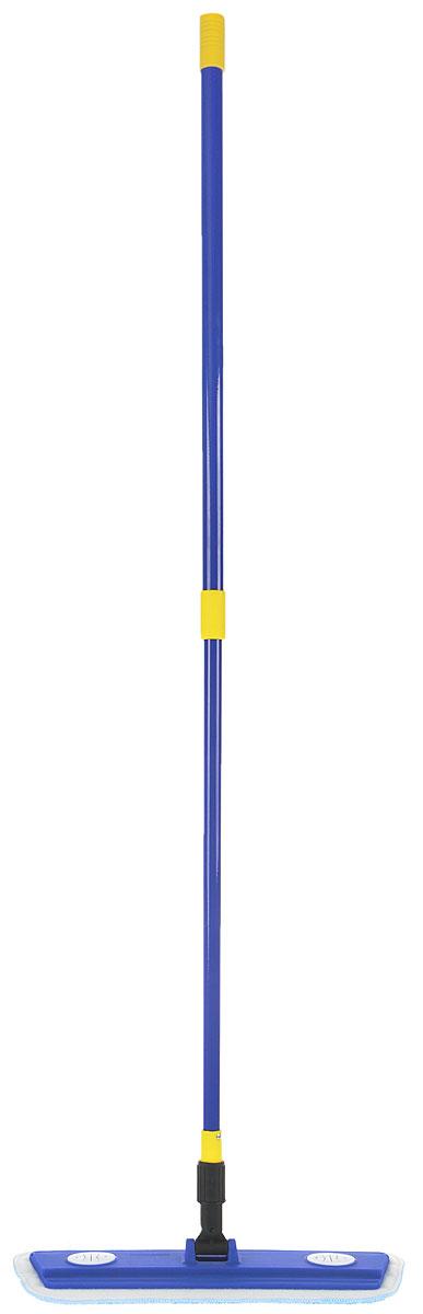Швабра MONYA Микрофибра Люкс, с телескопической ручкой, 76-126 смМ 01Швабра MONYA Микрофибра Люкс предназначена для сухой и влажной уборки и подходит для мытья всех типов напольных поверхностей: паркет, ламинат, линолеум, кафельная плитка. Материал насадки - микрофибра, обладает высокой износостойкостью, не царапает поверхности и отлично впитывает влагу. Лента-липучка, закреплённая на швабре, позволяет быстро снимать и надевать насадку. Дополнительное крепление на швабре позволяет проводить уборку тряпкой из любого материала. Швабра оснащена телескопической ручкой из металла, она позволяет отрегулировать швабру по высоте для удобного использования. Длина ручки: 76-126 см. Размер насадки: 40 х 13,5 см.