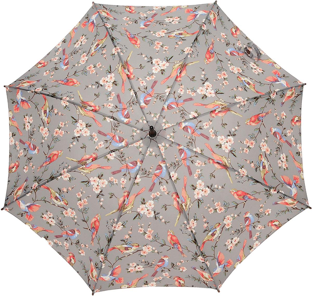 Зонт-трость женский Cath Kidston Kensington, механический, цвет: серый. L541-3060L541-3060 BritishBirdsGreyСтильный механический зонт-трость Cath Kidston Kensington даже в ненастную погоду позволит вам оставаться модной и элегантной. Каркас зонта включает 8 спиц из фибергласса с деревянным наконечниками. Стержень изготовлен из дерева. Купол зонта выполнен из износостойкого полиэстера и оформлен принтом в виде птичек на веточках. Изделие дополнено удобной рукояткой из гладкого дерева. Зонт механического сложения: купол открывается и закрывается вручную до характерного щелчка. Модель дополнительно застегивается с помощью двух хлястиков: на кнопку и липучку с декоративной пуговицей. Такой зонт не только надежно защитит вас от дождя, но и станет стильным аксессуаром, который идеально подчеркнет ваш неповторимый образ.