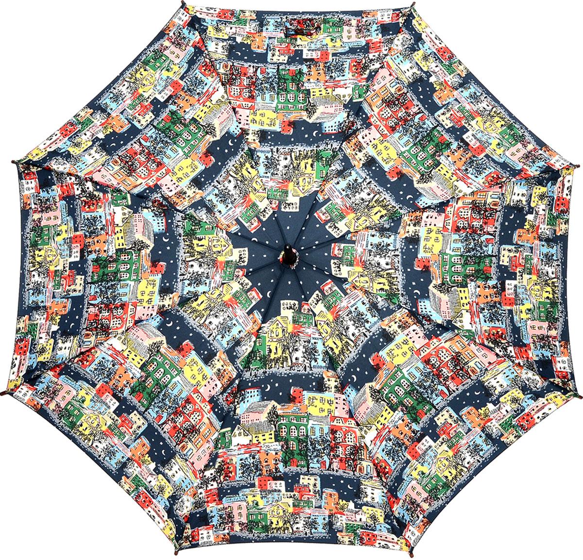 Зонт-трость женский Cath Kidston Kensington, механический, цвет: мультиколор. L541-2848L541-2848 TownhousesЯркий механический зонт-трость Cath Kidston Kensington даже в ненастную погоду позволит вам оставаться стильной и элегантной. Каркас зонта включает 8 спиц из фибергласса с деревянным наконечниками. Стержень изготовлен из дерева. Купол зонта выполнен из износостойкого полиэстера и оформлен оригинальным принтом. Изделие дополнено удобной рукояткой из гладкого дерева. Зонт механического сложения: купол открывается и закрывается вручную до характерного щелчка. Модель дополнительно застегивается с помощью двух хлястиков: на кнопку и липучку с декоративной пуговицей. Такой зонт не только надежно защитит вас от дождя, но и станет стильным аксессуаром, который идеально подчеркнет ваш неповторимый образ.