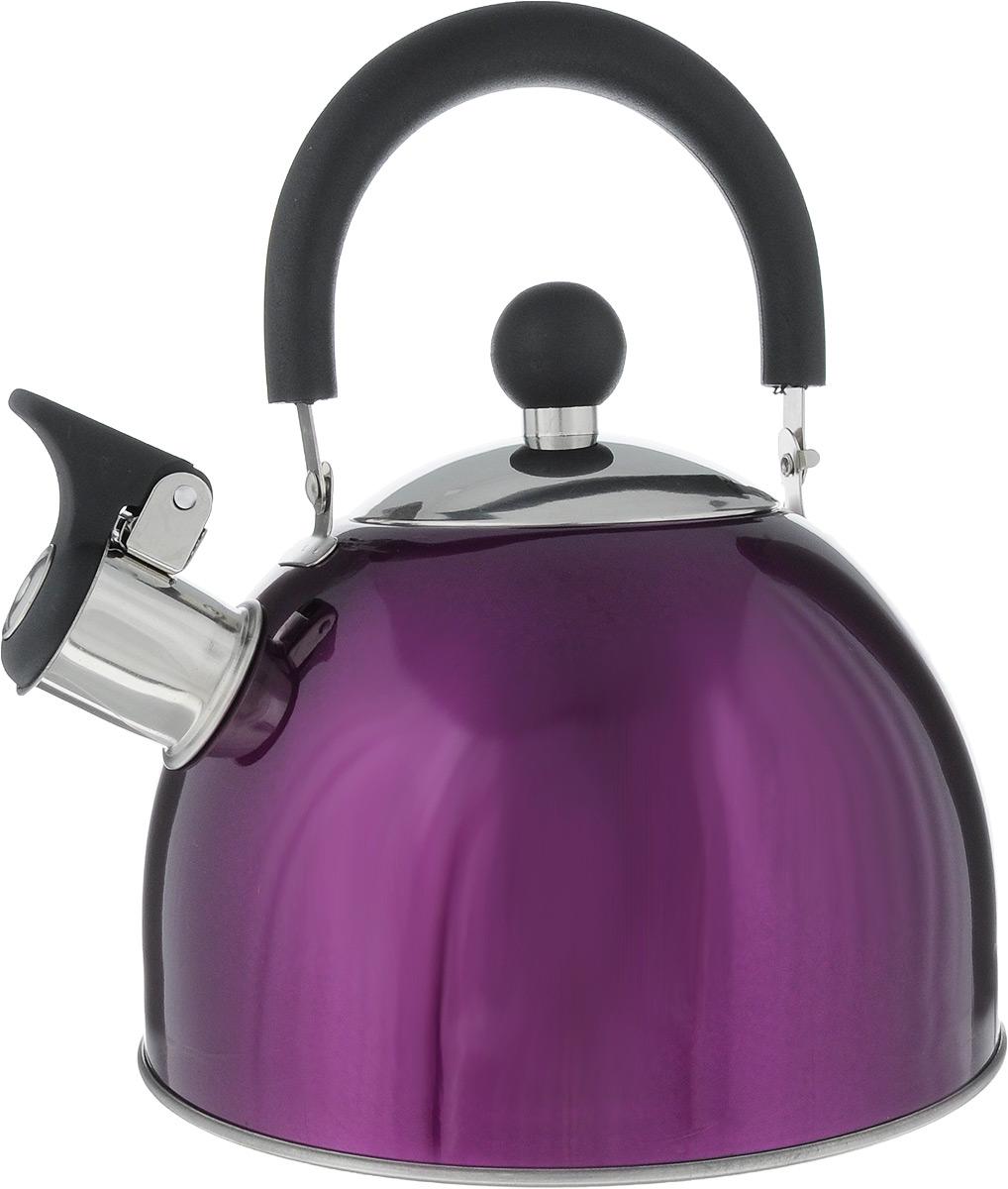 Чайник Bekker, со свистком, цвет: фиолетовый, 2 л. BK-S579BK-S579_фиолетовыйЧайник Bekker выполнен из высококачественной нержавеющей стали, что обеспечивает долговечность использования. Внешнее цветное глянцевое покрытие придает изделию изысканный вид. Подвижная нейлоновая ручка делает использование чайника очень удобным и безопасным. Чайник снабжен откидным свистком, который подскажет, когда закипела вода. Изделие имеет капсулированное дно для лучшего распределения тепла. Не рекомендуется мыть в посудомоечной машине. Пригоден для всех видов плит, включая индукционные. Высота чайника (без учета крышки и ручки): 11 см. Диаметр отверстия: 9 см.