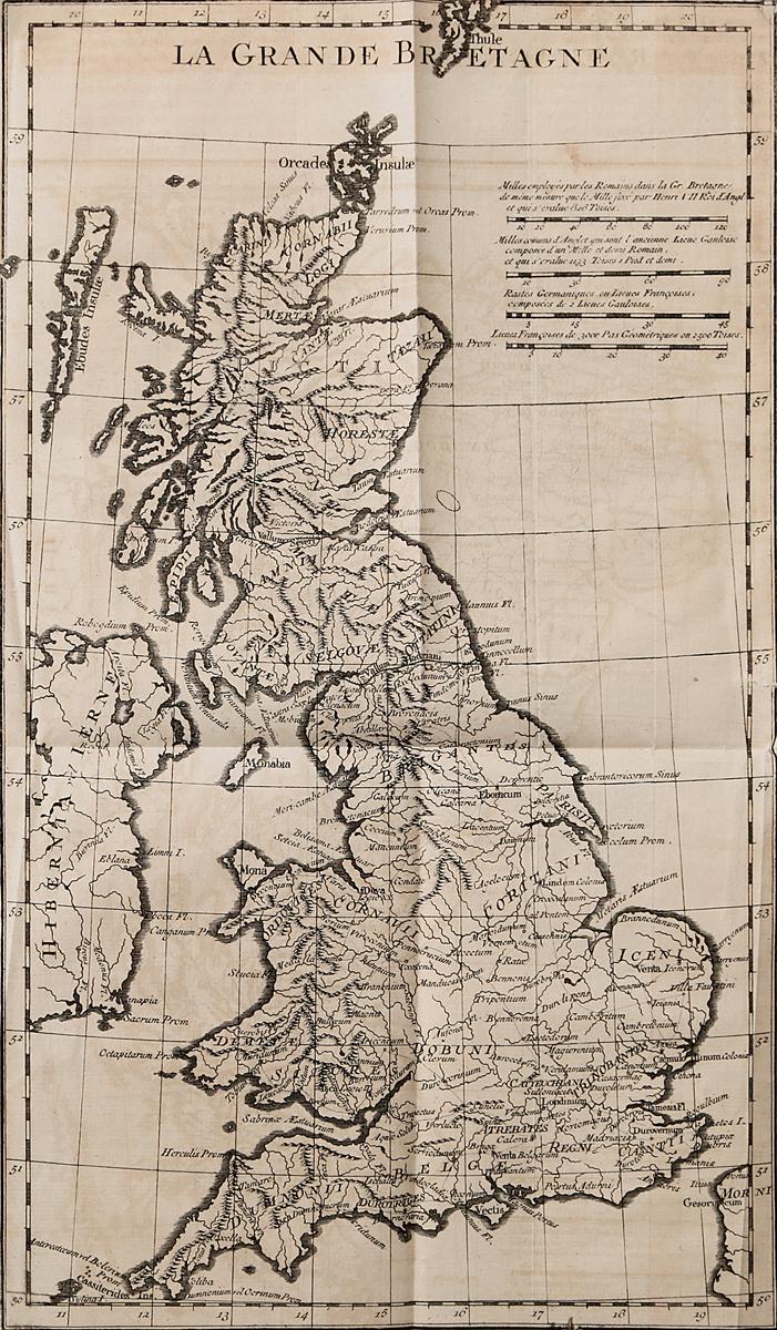 Географическая карта Великобритании. Гравюра. Западная Европа, середина XVII века