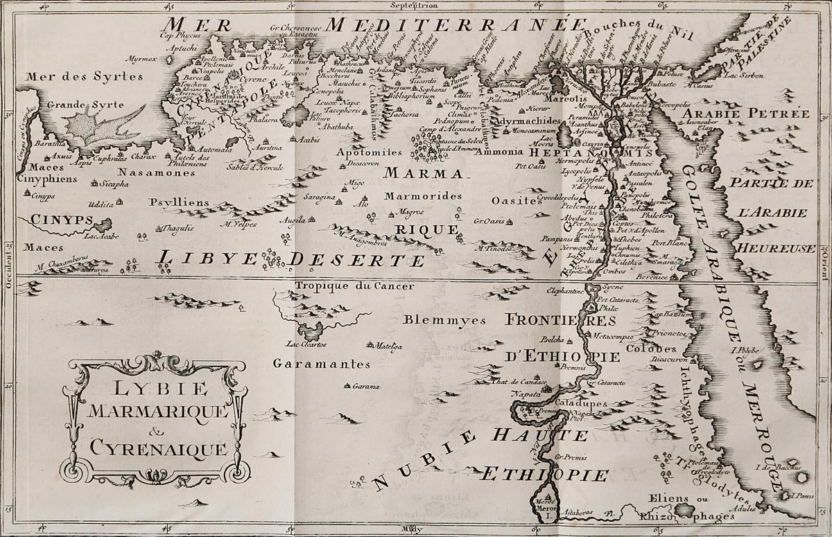 Географическая карта Ливии, Мармарики и Киренаики. Гравюра. Западная европа, середина XVII века