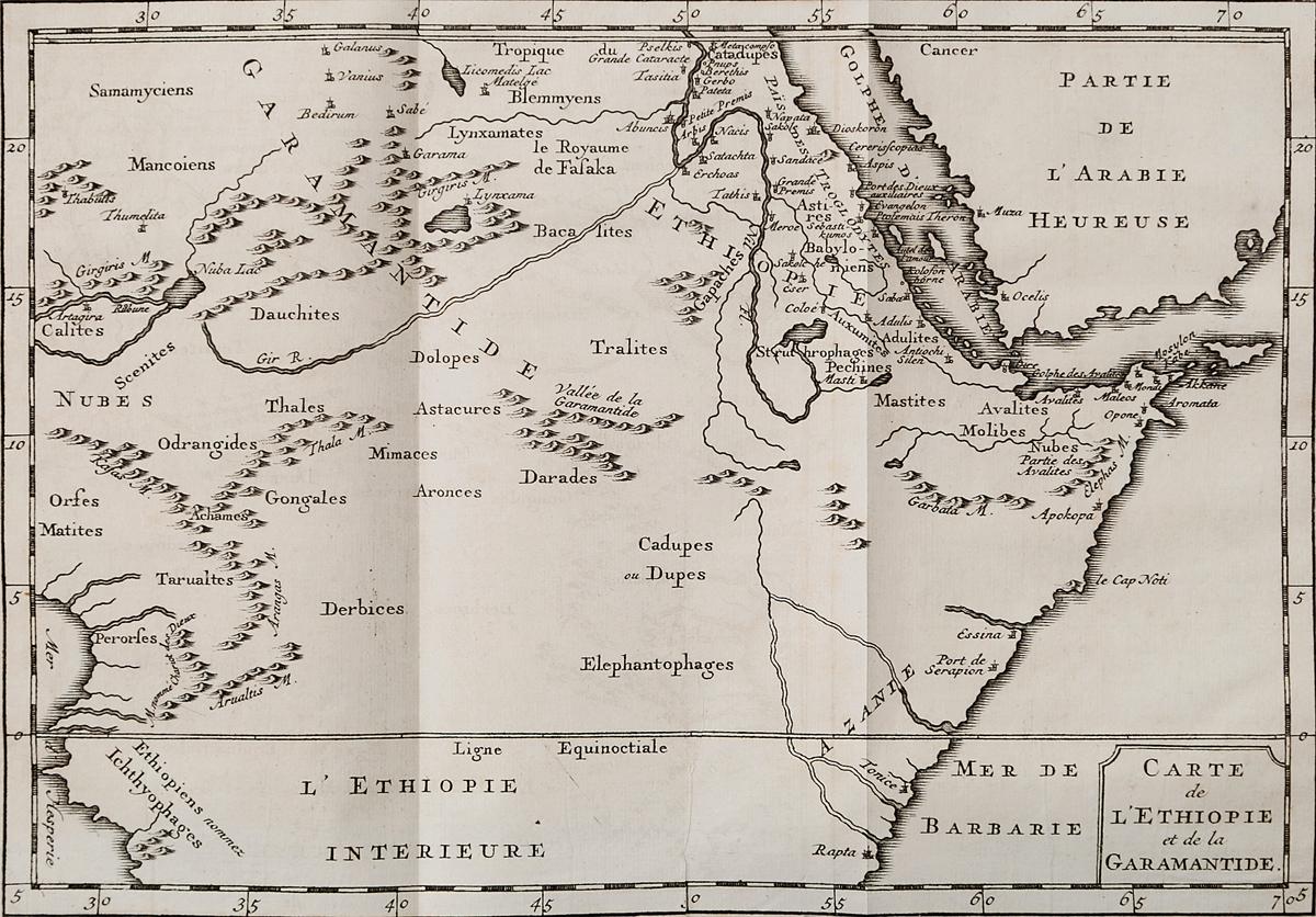 Географическая карта Эфиопии и Гарамантиды. Гравюра. Западная Европа, середина XVIII века