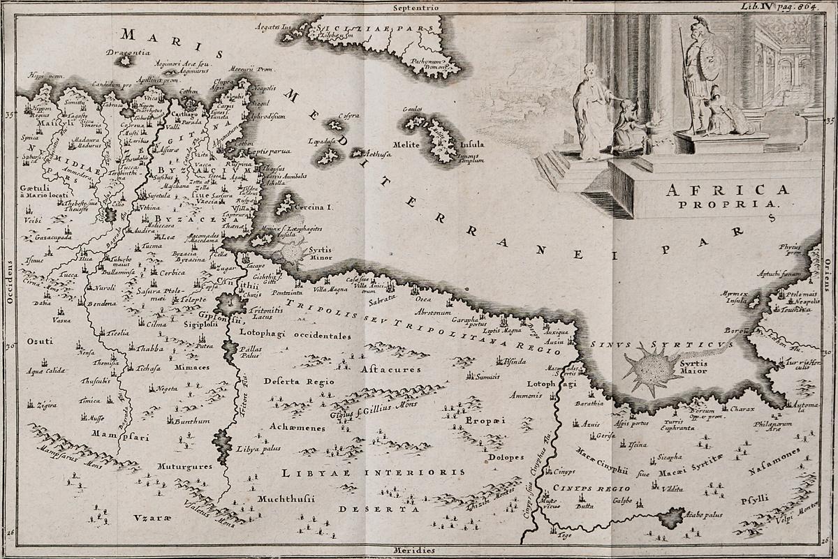 Географическая карта Северной Африки Africa propria. Гравюра. Западная Европа, середина XVII века