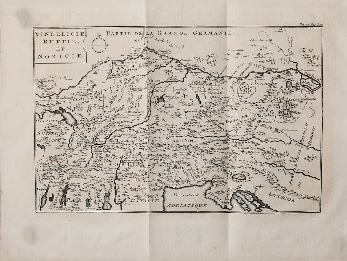 Географическая карта Винделиции, Реции и Нориции. Гравюра. Западная Европа, середина XVII века