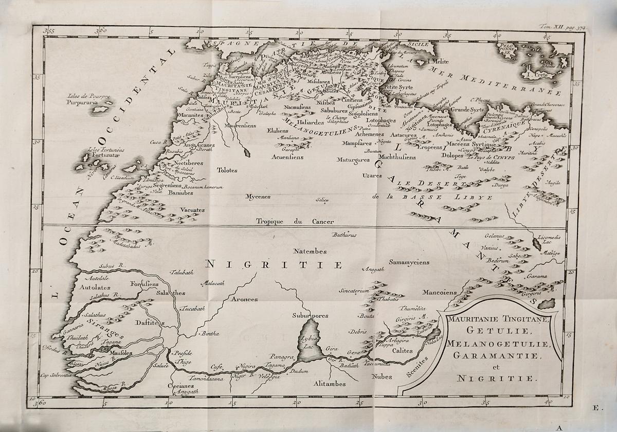 Географическая карта Тингитанской Мавретании, Гетулии, Гарамантии и Нигритии. Гравюра. Западная Европа, середина XVII века