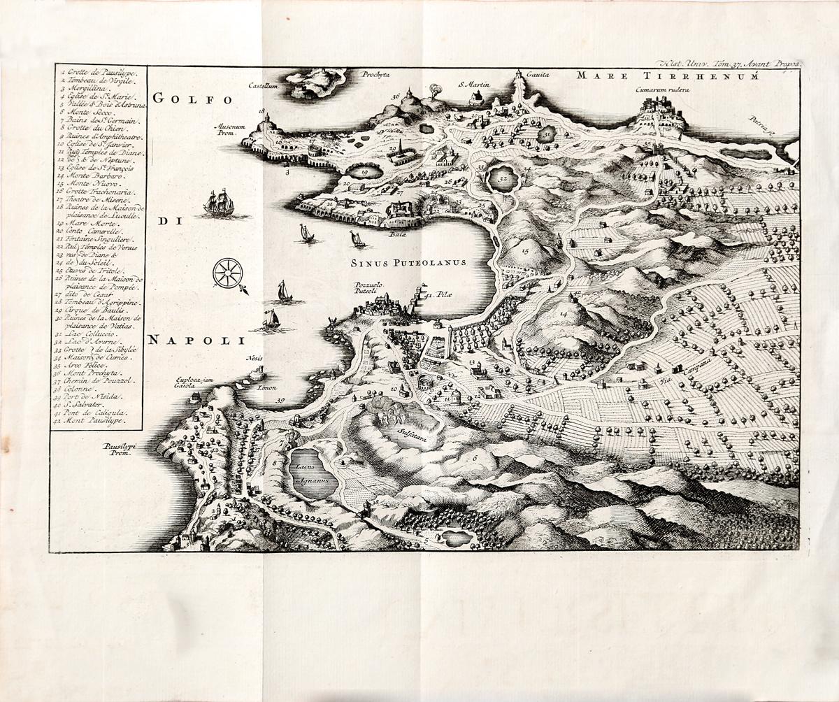 Географическая карта побережья Неаполитанского залива и Кампании. Гравюра. Западная Европа, середина XVIII века