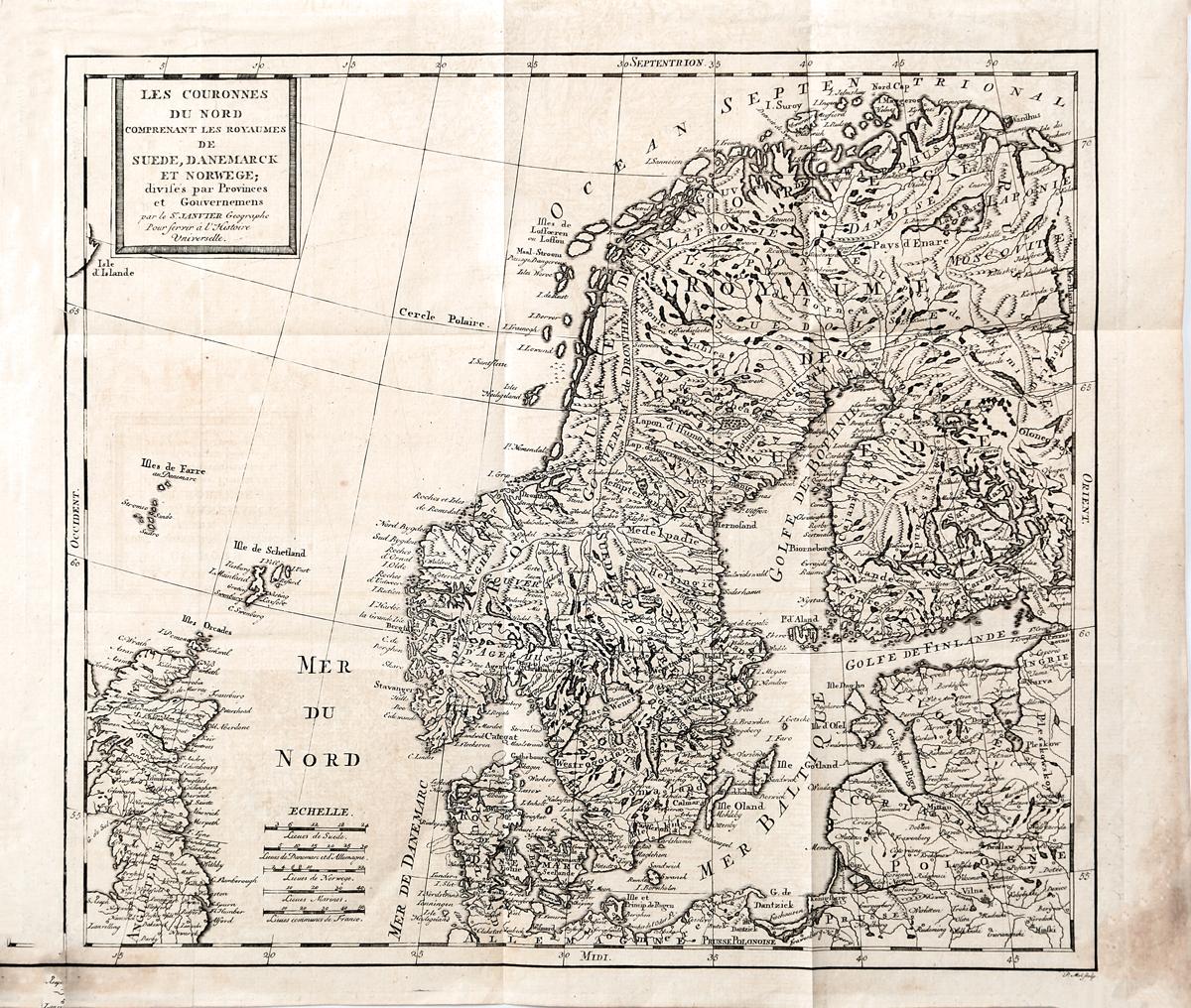 Географическая карта Северных Корон, включающая королевства Швеции, Дании и Норвегии. Гравюра. Западная Европа, середина XVIII века