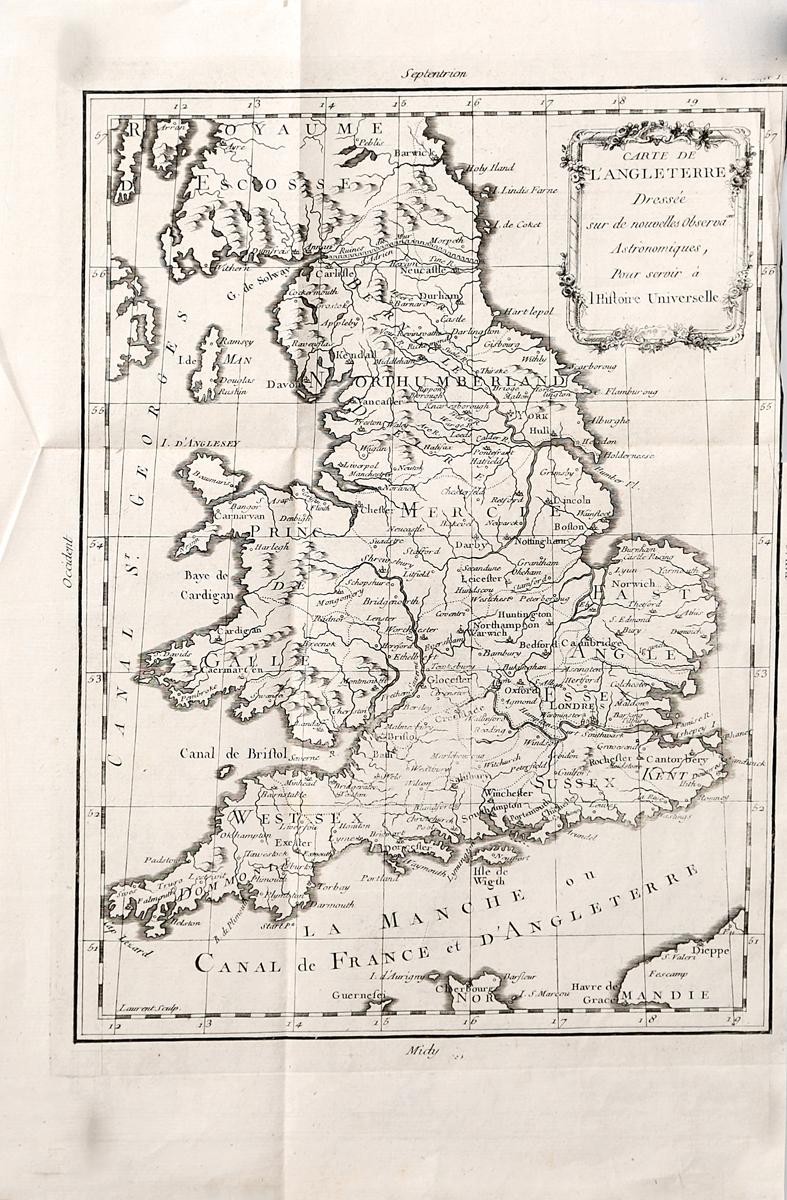 Географическая карта Англии. Гравюра. Франция, вторая половина XVIII века