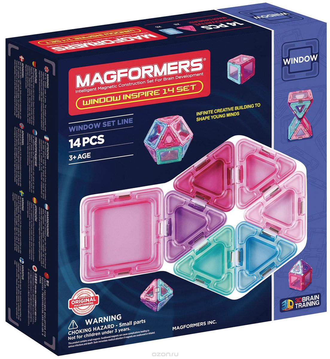 Magformers Магнитный конструктор Window Inspire714003Window Inspire 14 Set — представитель новой серии Window, в которую также входят Window Basic 14 Set и Window Basic 30 Set. Особенностью этой серии являются магнитные детали со сплошным центром, из которых можно собрать непрозрачные модели. Magformers Window Inspire 14 — это специальное издание набора Magformers Window 14 в мягких пастельных цветах. Нежные оттенки розового, фиолетового и голубого особенно придутся по душе девочкам. Набор Window Inspire 14 прекрасно подойдет тем, кто только начинает знакомство с магнитными конструкторами Магформерс. В его состав входят 14 элементов: 6 квадратов и 8 треугольников. С этими базовыми деталями ребенок быстро освоит построение предметов на плоскости, а затем с легкостью перейдет к конструированию трехмерных моделей. Каждая деталь содержит окошко из цветного прозрачного пластика, что открывает новые возможности для творчества. Все элементы Magformers Window Inspire 14 также совместимы с любыми другими наборами Магформерс, что позволяет...