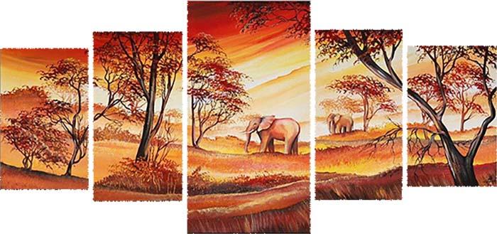 Картина Арт78 Африка, модульная, 200 х 120 см. арт780057арт780057Ничто так не облагораживает интерьер, как хорошая картина. Особенную атмосферу создаст крупное художественное полотно, размеры которого более метра. Подобные произведения искусства, выполненные в традиционной технике (холст, масляные краски), чрезвычайно капризны: требуют сложного ухода, регулярной реставрации, особого микроклимата – поэтому они просто не могут существовать в условиях обычной городской квартиры или загородного коттеджа, и требуют больших затрат. Данное полотно идеально приспособлено для создания изысканной обстановки именно у Вас. Это полотно создано с использованием как традиционных натуральных материалов (холст, подрамник - сосна), так и материалов нового поколения – краски, фактурный гель (придающий картине внешний вид масляной живописи, и защищающий ее от внешнего воздействия). Благодаря такой композиции, картина выглядит абсолютно естественно, и отличить ее от традиционной техники может только специалист. Но при этом изображение отлично...