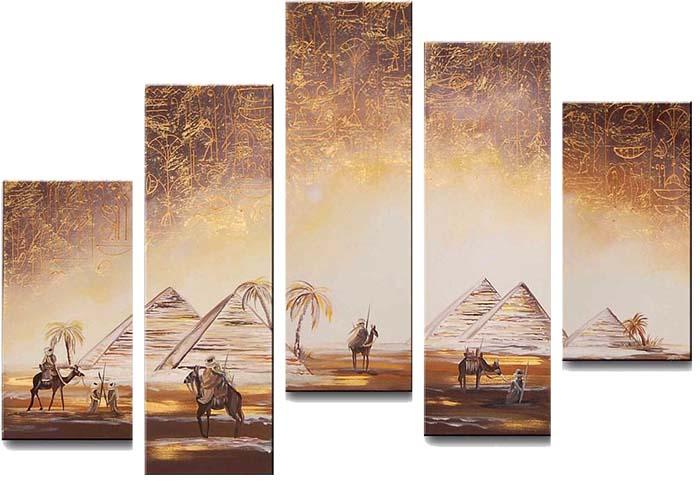 Картина Арт78 Пирамиды, модульная, 200 х 120 см. арт780060арт780060Ничто так не облагораживает интерьер, как хорошая картина. Особенную атмосферу создаст крупное художественное полотно, размеры которого более метра. Подобные произведения искусства, выполненные в традиционной технике (холст, масляные краски), чрезвычайно капризны: требуют сложного ухода, регулярной реставрации, особого микроклимата – поэтому они просто не могут существовать в условиях обычной городской квартиры или загородного коттеджа, и требуют больших затрат. Данное полотно идеально приспособлено для создания изысканной обстановки именно у Вас. Это полотно создано с использованием как традиционных натуральных материалов (холст, подрамник - сосна), так и материалов нового поколения – краски, фактурный гель (придающий картине внешний вид масляной живописи, и защищающий ее от внешнего воздействия). Благодаря такой композиции, картина выглядит абсолютно естественно, и отличить ее от традиционной техники может только специалист. Но при этом изображение отлично...