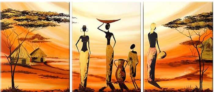 Картина Арт78 Африканские девушки, модульная, 160 х 80 см. арт780067арт780067Ничто так не облагораживает интерьер, как хорошая картина. Особенную атмосферу создаст крупное художественное полотно, размеры которого более метра. Подобные произведения искусства, выполненные в традиционной технике (холст, масляные краски), чрезвычайно капризны: требуют сложного ухода, регулярной реставрации, особого микроклимата – поэтому они просто не могут существовать в условиях обычной городской квартиры или загородного коттеджа, и требуют больших затрат. Данное полотно идеально приспособлено для создания изысканной обстановки именно у Вас. Это полотно создано с использованием как традиционных натуральных материалов (холст, подрамник - сосна), так и материалов нового поколения – краски, фактурный гель (придающий картине внешний вид масляной живописи, и защищающий ее от внешнего воздействия). Благодаря такой композиции, картина выглядит абсолютно естественно, и отличить ее от традиционной техники может только специалист. Но при этом изображение отлично...