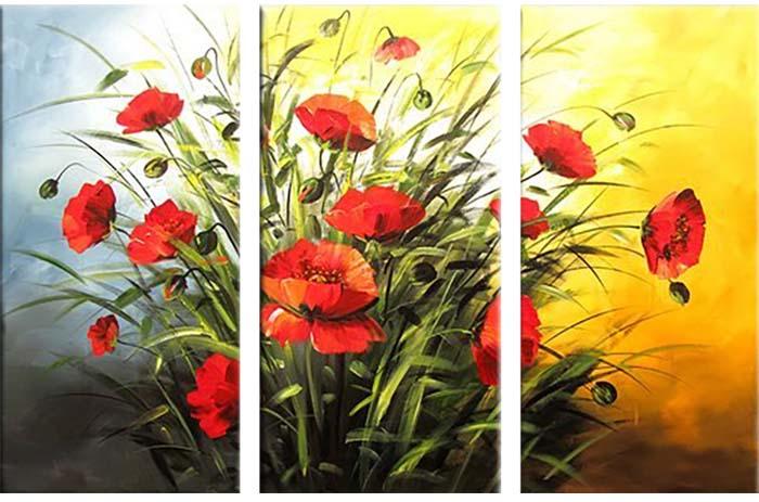 Картина Арт78 Маки, модульная, 160 х 120 см. арт780069арт780069Ничто так не облагораживает интерьер, как хорошая картина. Особенную атмосферу создаст крупное художественное полотно, размеры которого более метра. Подобные произведения искусства, выполненные в традиционной технике (холст, масляные краски), чрезвычайно капризны: требуют сложного ухода, регулярной реставрации, особого микроклимата – поэтому они просто не могут существовать в условиях обычной городской квартиры или загородного коттеджа, и требуют больших затрат. Данное полотно идеально приспособлено для создания изысканной обстановки именно у Вас. Это полотно создано с использованием как традиционных натуральных материалов (холст, подрамник - сосна), так и материалов нового поколения – краски, фактурный гель (придающий картине внешний вид масляной живописи, и защищающий ее от внешнего воздействия). Благодаря такой композиции, картина выглядит абсолютно естественно, и отличить ее от традиционной техники может только специалист. Но при этом изображение отлично...