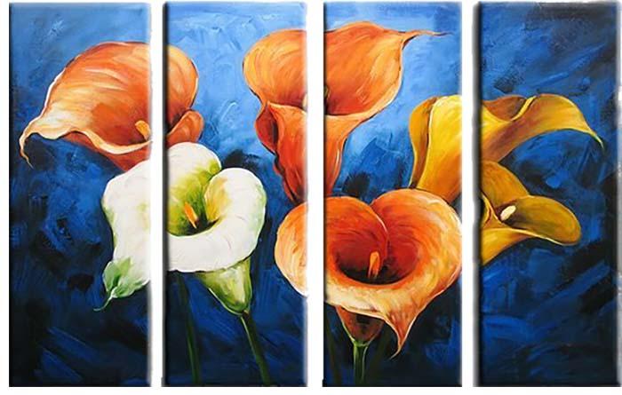 Картина Арт78 Каллы, модульная, 200 х 120 см. арт780071арт780071Ничто так не облагораживает интерьер, как хорошая картина. Особенную атмосферу создаст крупное художественное полотно, размеры которого более метра. Подобные произведения искусства, выполненные в традиционной технике (холст, масляные краски), чрезвычайно капризны: требуют сложного ухода, регулярной реставрации, особого микроклимата – поэтому они просто не могут существовать в условиях обычной городской квартиры или загородного коттеджа, и требуют больших затрат. Данное полотно идеально приспособлено для создания изысканной обстановки именно у Вас. Это полотно создано с использованием как традиционных натуральных материалов (холст, подрамник - сосна), так и материалов нового поколения – краски, фактурный гель (придающий картине внешний вид масляной живописи, и защищающий ее от внешнего воздействия). Благодаря такой композиции, картина выглядит абсолютно естественно, и отличить ее от традиционной техники может только специалист. Но при этом изображение отлично...