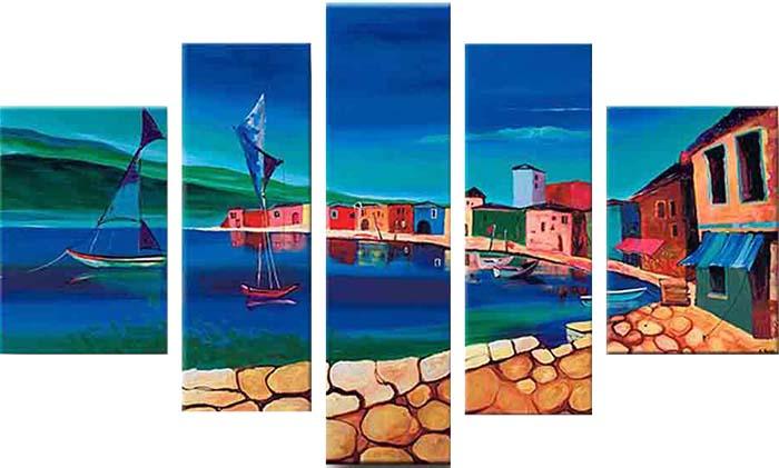 Картина Арт78 На берегу, модульная, 200 х 120 см. арт780082арт780082Ничто так не облагораживает интерьер, как хорошая картина. Особенную атмосферу создаст крупное художественное полотно, размеры которого более метра. Подобные произведения искусства, выполненные в традиционной технике (холст, масляные краски), чрезвычайно капризны: требуют сложного ухода, регулярной реставрации, особого микроклимата – поэтому они просто не могут существовать в условиях обычной городской квартиры или загородного коттеджа, и требуют больших затрат. Данное полотно идеально приспособлено для создания изысканной обстановки именно у Вас. Это полотно создано с использованием как традиционных натуральных материалов (холст, подрамник - сосна), так и материалов нового поколения – краски, фактурный гель (придающий картине внешний вид масляной живописи, и защищающий ее от внешнего воздействия). Благодаря такой композиции, картина выглядит абсолютно естественно, и отличить ее от традиционной техники может только специалист. Но при этом изображение отлично...