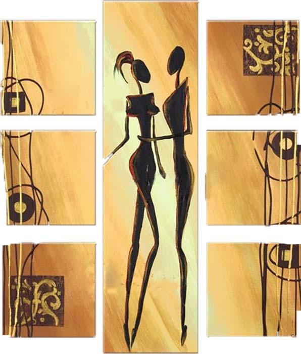 Картина Арт78 Два силуэта, модульная, 100 х 120 см. арт780106арт780106Ничто так не облагораживает интерьер, как хорошая картина. Особенную атмосферу создаст крупное художественное полотно, размеры которого более метра. Подобные произведения искусства, выполненные в традиционной технике (холст, масляные краски), чрезвычайно капризны: требуют сложного ухода, регулярной реставрации, особого микроклимата – поэтому они просто не могут существовать в условиях обычной городской квартиры или загородного коттеджа, и требуют больших затрат. Данное полотно идеально приспособлено для создания изысканной обстановки именно у Вас. Это полотно создано с использованием как традиционных натуральных материалов (холст, подрамник - сосна), так и материалов нового поколения – краски, фактурный гель (придающий картине внешний вид масляной живописи, и защищающий ее от внешнего воздействия). Благодаря такой композиции, картина выглядит абсолютно естественно, и отличить ее от традиционной техники может только специалист. Но при этом изображение отлично...