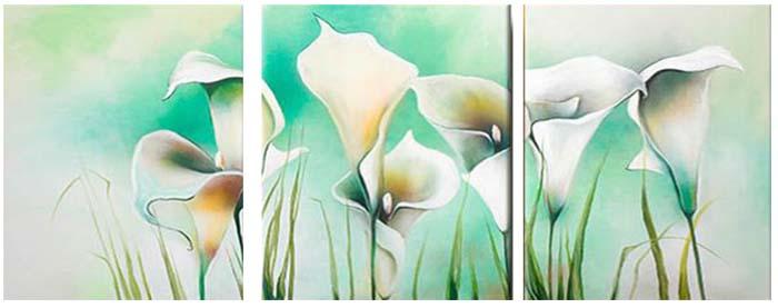 Картина Арт78 Белые каллы, модульная, 90 х 50 см. арт780051-3арт780051-3Ничто так не облагораживает интерьер, как хорошая картина. Особенную атмосферу создаст крупное художественное полотно, размеры которого более метра. Подобные произведения искусства, выполненные в традиционной технике (холст, масляные краски), чрезвычайно капризны: требуют сложного ухода, регулярной реставрации, особого микроклимата – поэтому они просто не могут существовать в условиях обычной городской квартиры или загородного коттеджа, и требуют больших затрат. Данное полотно идеально приспособлено для создания изысканной обстановки именно у Вас. Это полотно создано с использованием как традиционных натуральных материалов (холст, подрамник - сосна), так и материалов нового поколения – краски, фактурный гель (придающий картине внешний вид масляной живописи, и защищающий ее от внешнего воздействия). Благодаря такой композиции, картина выглядит абсолютно естественно, и отличить ее от традиционной техники может только специалист. Но при этом изображение отлично...