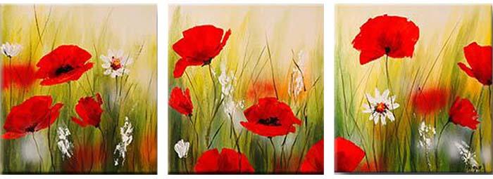 Картина Арт78 Маки и ромашки, модульная, 90 х 50 см. арт780052-3арт780052-3Ничто так не облагораживает интерьер, как хорошая картина. Особенную атмосферу создаст крупное художественное полотно, размеры которого более метра. Подобные произведения искусства, выполненные в традиционной технике (холст, масляные краски), чрезвычайно капризны: требуют сложного ухода, регулярной реставрации, особого микроклимата – поэтому они просто не могут существовать в условиях обычной городской квартиры или загородного коттеджа, и требуют больших затрат. Данное полотно идеально приспособлено для создания изысканной обстановки именно у Вас. Это полотно создано с использованием как традиционных натуральных материалов (холст, подрамник - сосна), так и материалов нового поколения – краски, фактурный гель (придающий картине внешний вид масляной живописи, и защищающий ее от внешнего воздействия). Благодаря такой композиции, картина выглядит абсолютно естественно, и отличить ее от традиционной техники может только специалист. Но при этом изображение отлично...