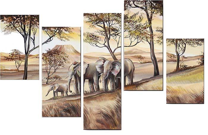 Картина Арт78 Слоны, модульная, 140 х 80 см. арт780061-2арт780061-2Ничто так не облагораживает интерьер, как хорошая картина. Особенную атмосферу создаст крупное художественное полотно, размеры которого более метра. Подобные произведения искусства, выполненные в традиционной технике (холст, масляные краски), чрезвычайно капризны: требуют сложного ухода, регулярной реставрации, особого микроклимата – поэтому они просто не могут существовать в условиях обычной городской квартиры или загородного коттеджа, и требуют больших затрат. Данное полотно идеально приспособлено для создания изысканной обстановки именно у Вас. Это полотно создано с использованием как традиционных натуральных материалов (холст, подрамник - сосна), так и материалов нового поколения – краски, фактурный гель (придающий картине внешний вид масляной живописи, и защищающий ее от внешнего воздействия). Благодаря такой композиции, картина выглядит абсолютно естественно, и отличить ее от традиционной техники может только специалист. Но при этом изображение отлично...