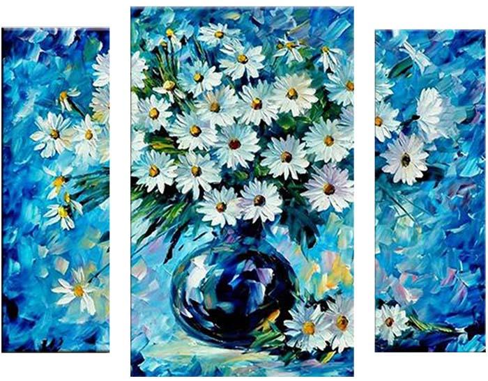 Картина Арт78 Ваза с ромашками, модульная, 100 х 60 см. арт780090-3арт780090-3Ничто так не облагораживает интерьер, как хорошая картина. Особенную атмосферу создаст крупное художественное полотно, размеры которого более метра. Подобные произведения искусства, выполненные в традиционной технике (холст, масляные краски), чрезвычайно капризны: требуют сложного ухода, регулярной реставрации, особого микроклимата – поэтому они просто не могут существовать в условиях обычной городской квартиры или загородного коттеджа, и требуют больших затрат. Данное полотно идеально приспособлено для создания изысканной обстановки именно у Вас. Это полотно создано с использованием как традиционных натуральных материалов (холст, подрамник - сосна), так и материалов нового поколения – краски, фактурный гель (придающий картине внешний вид масляной живописи, и защищающий ее от внешнего воздействия). Благодаря такой композиции, картина выглядит абсолютно естественно, и отличить ее от традиционной техники может только специалист. Но при этом изображение отлично...