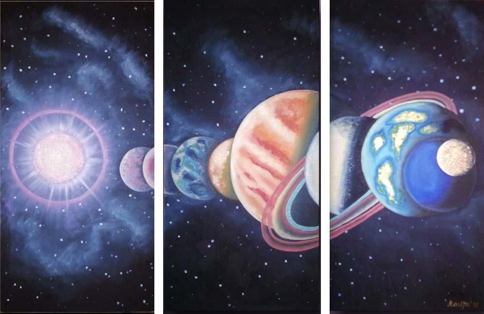 Картина Арт78 Парад планет, модульная, 90 х 60 см. арт780107-3арт780107-3Ничто так не облагораживает интерьер, как хорошая картина. Особенную атмосферу создаст крупное художественное полотно, размеры которого более метра. Подобные произведения искусства, выполненные в традиционной технике (холст, масляные краски), чрезвычайно капризны: требуют сложного ухода, регулярной реставрации, особого микроклимата – поэтому они просто не могут существовать в условиях обычной городской квартиры или загородного коттеджа, и требуют больших затрат. Данное полотно идеально приспособлено для создания изысканной обстановки именно у Вас. Это полотно создано с использованием как традиционных натуральных материалов (холст, подрамник - сосна), так и материалов нового поколения – краски, фактурный гель (придающий картине внешний вид масляной живописи, и защищающий ее от внешнего воздействия). Благодаря такой композиции, картина выглядит абсолютно естественно, и отличить ее от традиционной техники может только специалист. Но при этом изображение отлично...
