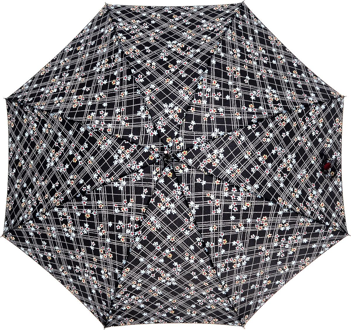 Зонт-трость женский Fulton Eliza, механический, цвет: черный, темно-сиреневый. L600-2633L600-2633 CheckFloralМодный механический зонт-трость Fulton Eliza даже в ненастную погоду позволит вам оставаться стильной и элегантной. Каркас зонта включает 8 спиц из фибергласса. Стержень изготовлен из стали. Купол зонта выполнен из прочного полиэстера и оформлен принтом в клетку и цветочным принтом. Изделие дополнено удобной пластиковой рукояткой, обтянутой натуральной кожей. Зонт механического сложения: купол открывается и закрывается вручную до характерного щелчка. Модель застегивается с помощью хлястика на липучку, который украшен декоративной яркой пуговицей. Такой зонт не только надежно защитит вас от дождя, но и станет стильным аксессуаром, который идеально подчеркнет ваш неповторимый образ.