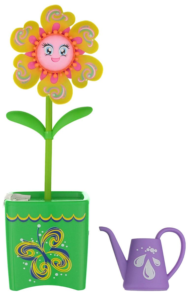 Magic Blooms Интерактивная игрушка Волшебный цветок цвет желтый зеленый88430S_желтый, зеленыйИнтерактивная игрушка Magic Blooms Волшебный цветок непременно понравится каждой девочке. Просто прикоснитесь к цветочку и он начнет двигаться и петь. Если вы запишете пару слов, он сможет их повторить под музыку. Также вы можете создать хор, объединив несколько Magic Blooms вместе, они будут петь синхронно. Игрушка выполнена из нетоксичного и абсолютно безопасного для детей материала. В комплект входят волшебный цветочек и лейка. Для работы цветочка рекомендуется докупить 3 батарейки напряжением 1,5V типа AAA (товар комплектуется демонстрационными).