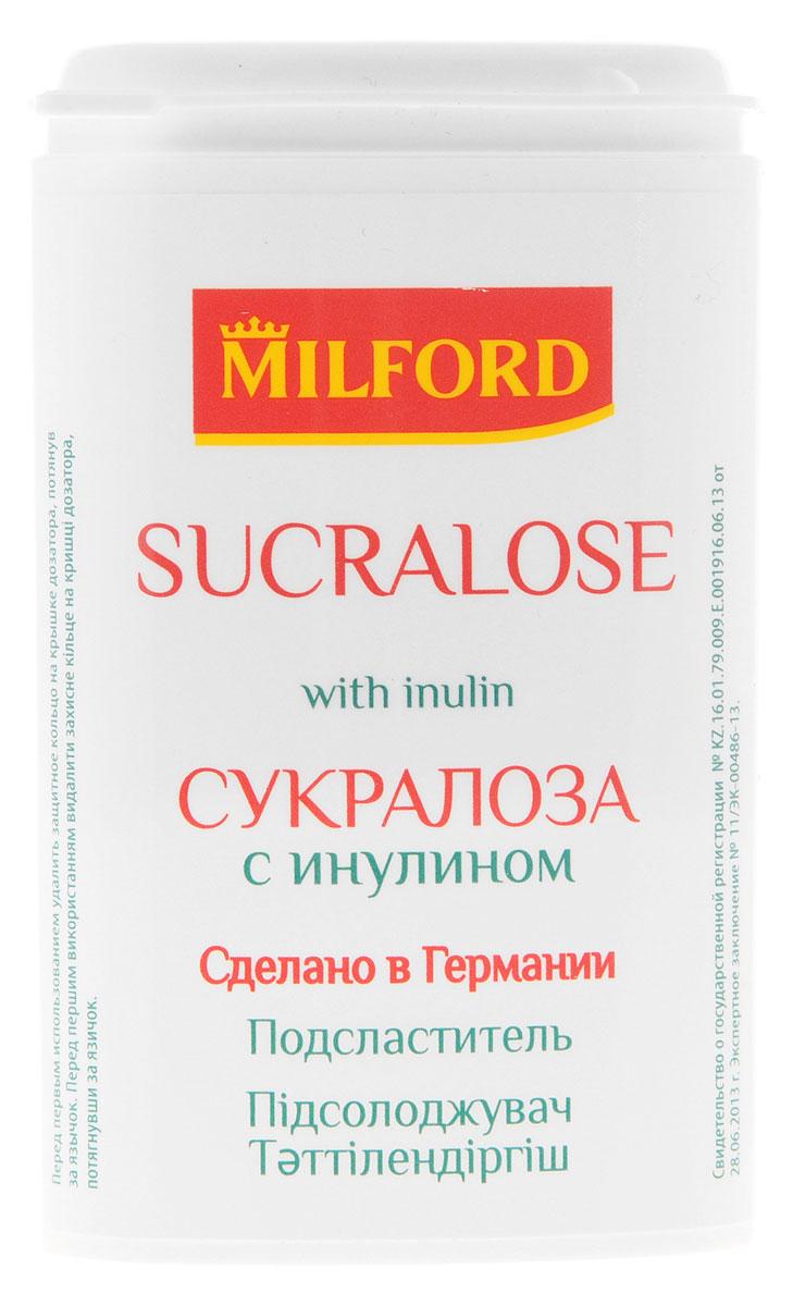 Milford Подсластитель сукралоза с инулином, 370 штнаа107Подсластитель (заменитель сахара) с натуральными веществами: сукралозой и инулином. Сукралоза - продукт получаемый в процессе переработки обычного сахара. Сукралоза не влияет на уровень сахара в крови, не вызывает кариес, не повышает аппетит. Калорийность сукралозы приближена к нулю, при этом она в сотни раз слаще сахара. Инулин - пребиотик растительного происхождения, его получают из растений (цикорий, топинамбур). Инулин создает благоприятные условия в кишечнике для размножения полезных бактерий снижает уровень плохого холестерина, полезен для организма еще по ряду показателей. Подсластитель Milford Сукралоза с инулином подойдет тем, кто придерживается диеты, следит за своим весом. По рекомендации врача, Сукралоза с инулином может использоваться в пищу людьми с сахарным диабетом. Уважаемые клиенты! Обращаем ваше внимание, что полный перечень состава продукта представлен на дополнительном изображении.