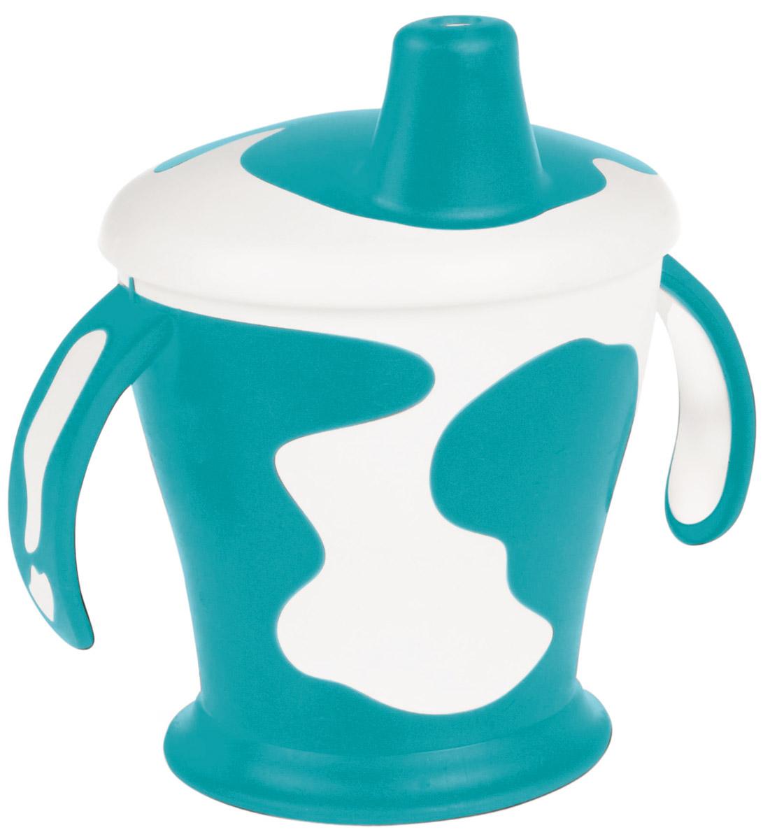 Canpol Babies Поильник-непроливайка Little Cow 250 мл цвет бирюзовый250930126Поильник-непроливайка Little Cow с носиком и ручками поможет вашему малышу незаметно перейти от кормления из бутылочки к самостоятельному питью. Поильник изготовлен из прочного материала, оснащен уникальным клапаном, который разработан таким образом, чтобы ребенок мог пить самостоятельно, не проливая при этом содержимое. Нескользящее дно предотвращает случайные движения поильника по поверхности. Поильник оснащен закрывающейся крышкой с безопасным носиком. Оригинальный яркий и контрастный узор вызовет интерес у малыша.
