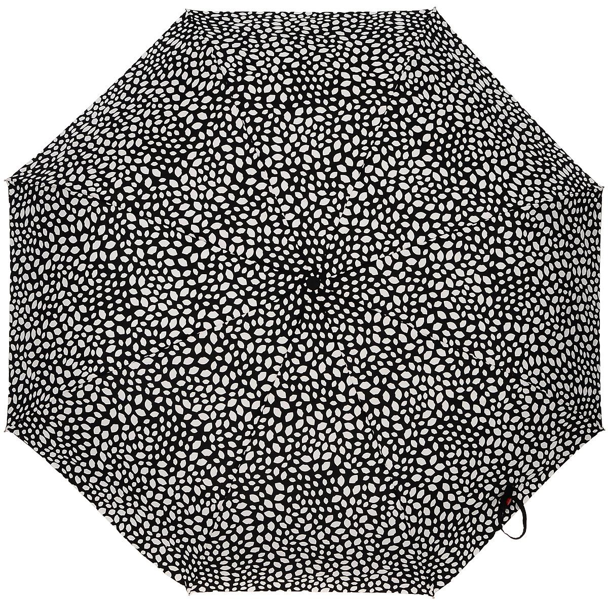Зонт женский Lulu Guinness Superlite, механический, 3 сложения, цвет: черный, белый. L781-3149L781-3149 WaterReactiveLipsСтильный механический зонт Lulu Guinness Superlite в 3 сложения даже в ненастную погоду позволит вам оставаться элегантной. Облегченный каркас зонта выполнен из 8 спиц из фибергласса и алюминия, стержень также изготовлен из алюминия, удобная рукоятка - из пластика. Купол зонта выполнен из прочного полиэстера. В закрытом виде застегивается хлястиком на кнопке. Яркий оригинальный принт в виде изображения губ поднимет настроение в дождливый день. Зонт механического сложения: купол открывается и закрывается вручную до характерного щелчка. На рукоятке для удобства есть небольшой шнурок, позволяющий надеть зонт на руку тогда, когда это будет необходимо. К зонту прилагается чехол с небольшой нашивкой с названием бренда. Такой зонт компактно располагается в кармане, сумочке, дверке автомобиля.