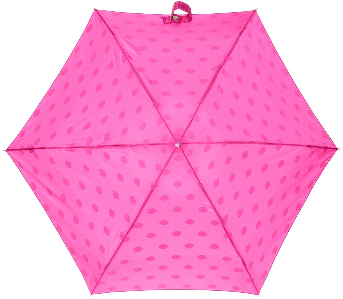 Зонт женский Lulu Guinness Tiny, механический, 5 сложений, цвет: фуксия, белый. L717-2781L717-2781 LipsPrintСтильный механический зонт Lulu Guinness Tiny в 5 сложений даже в ненастную погоду позволит вам оставаться элегантной. Облегченный каркас зонта выполнен из 6 спиц из фибергласса и алюминия, стержень также изготовлен из алюминия, удобная рукоятка - из пластика. Купол зонта выполнен из прочного полиэстера. В закрытом виде застегивается хлястиком на липучке. Яркий оригинальный принт в виде изображения губ поднимет настроение в дождливый день. Зонт механического сложения: купол открывается и закрывается вручную до характерного щелчка. На рукоятке для удобства есть небольшой шнурок, позволяющий надеть зонт на руку тогда, когда это будет необходимо. К зонту прилагается чехол с небольшой нашивкой с названием бренда. Такой зонт компактно располагается в кармане, сумочке, дверке автомобиля.