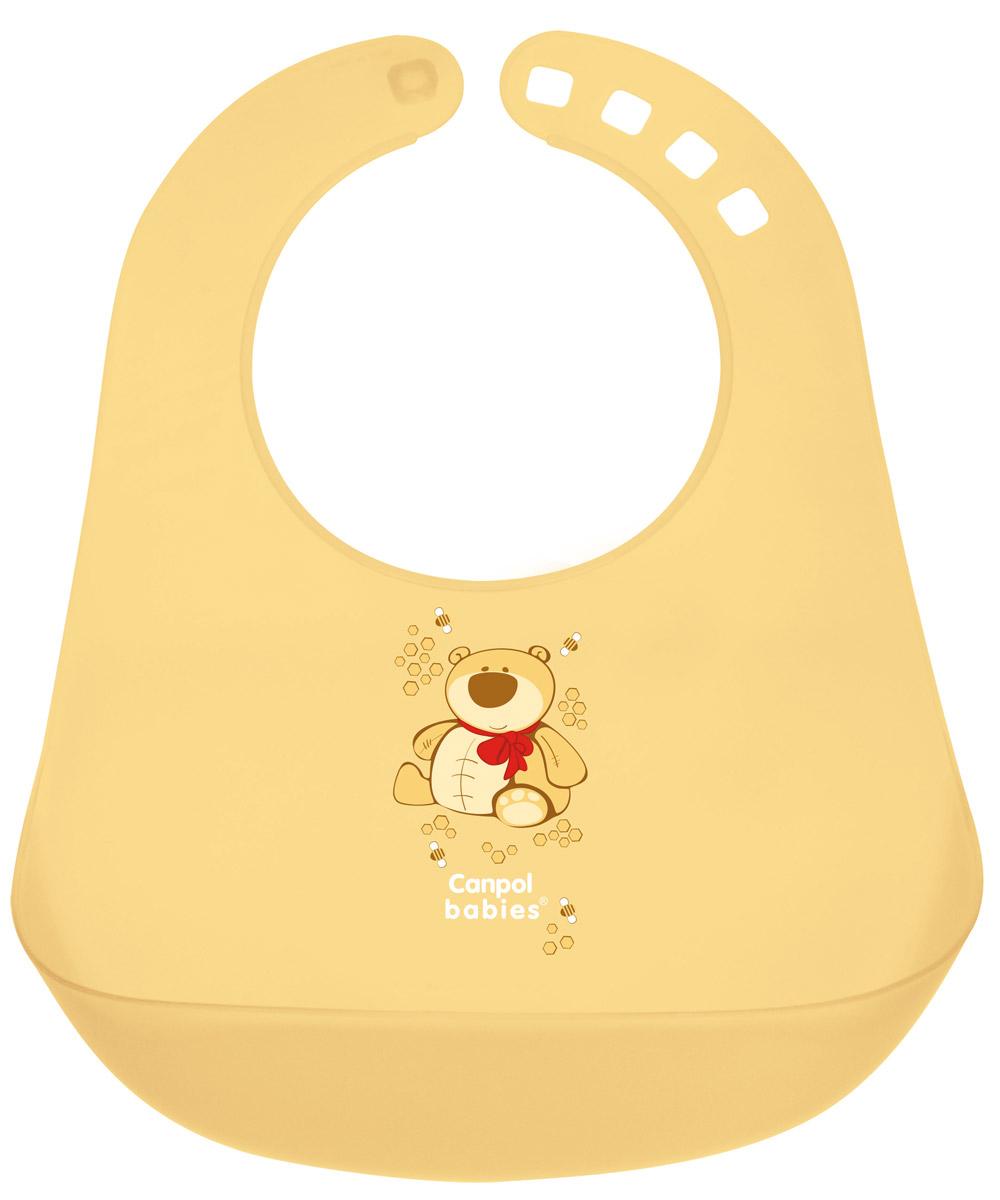 Canpol Babies Нагрудник пластиковый цвет желтый250930223Нагрудник пластиковый Canpol Babies - долговечный и надежный слюнявчик с кармашком для улавливания пищи. Как бы ребенок не крутился, пища все равно останется в кармане, а не на полу или одежде. Ширину горловины можно регулировать с помощью специальной застежки. Изготовлен из мягкого пластика, который легко и быстро мыть.