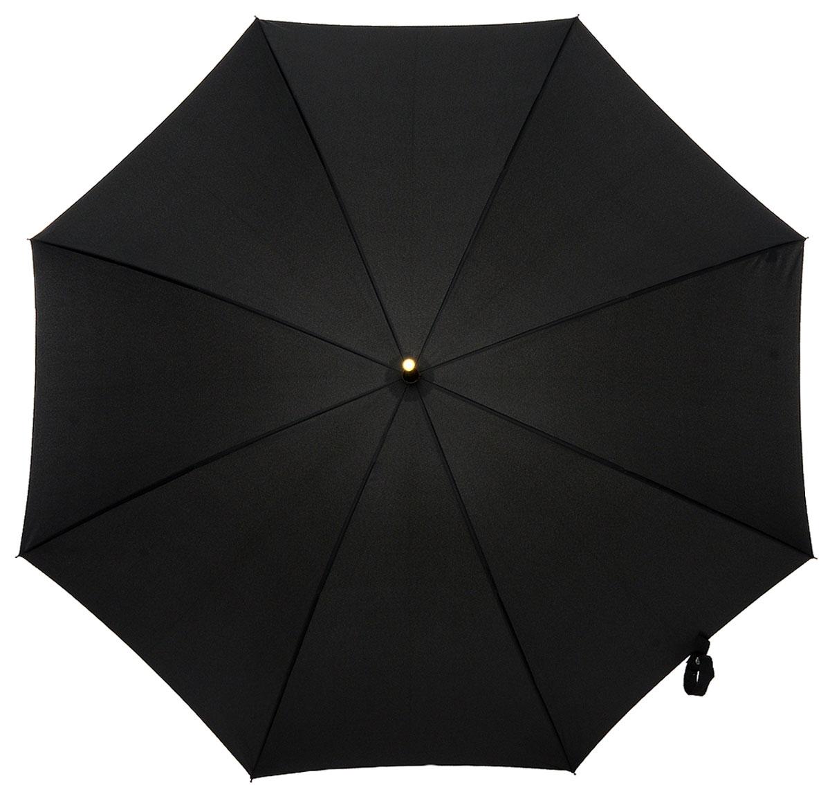 Зонт-трость мужской Fulton, механика, цвет: черный. G807-01G807-01 BlackЗонт-трость Fulton надежно защитит от непогоды. Купол выполнен из высококачественного полиэстера, который не пропускает воду. Каркас зонта, выполненный из прочного металла, состоит из восьми спиц. Зонт имеет механический тип сложения: открывается и закрывается вручную до характерного щелчка. Удобная ручка изогнутой формы выполнена из дерева.