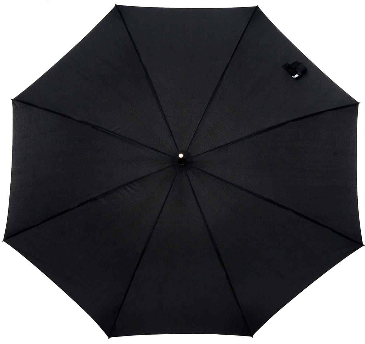 Зонт-трость Vogue, цвет: черный. 555 V555 VЭлегантный зонт-трость Vogue черного цвета идеально подойдет представителю сильного пола. Каркас зонта выполнен из восьми металлических спиц, удобная закругленная рукоятка - покрыта кожзаменителем. Применение в производстве каркаса зонта современных материалов уменьшает его вес и гарантирует надежность и качество. Структура материала купола обладает водо-, масло-, грязеотталкивающими свойствами при сохранении всех природных характеристик материалов. Зонт имеет полуавтоматический механизм складывания-раскладывания: купол открывается путем нажатия кнопки на рукоятке; складывается зонт вручную до характерного щелчка. Характеристики: Материал: металл, кожзаменитель, полиэстер, пластик. Цвет: черный. Производитель: Испания. Изготовитель: Китай. Артикул: 555 V.