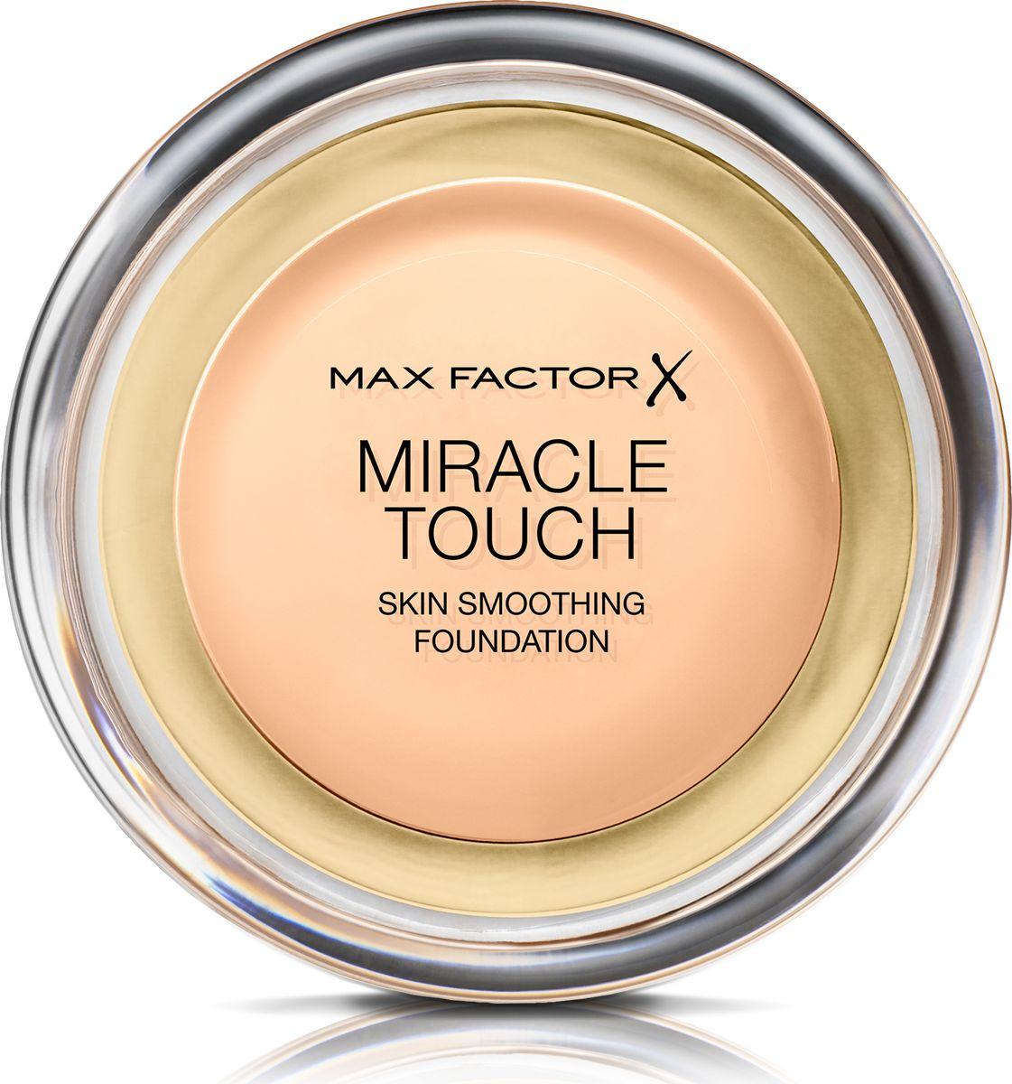 Max Factor Тональная Основа Miracle Touch Тон 40 creamy ivory 11,5 гр81055Уникальная универсальная тональная основа Max Factor Miracle Touch обладает кремообразной формулой, благодаря которой превосходно подготовить кожу для макияжа очень легко. Всего один слой без необходимости нанесения консилера или пудры. Формула Легкая твердая тональная основа тает в руках и гладко наносится на кожу, создавая идеальное, безупречно блестящее и равномерное покрытие, не слишком прозрачное и не слишком плотное. В результате кожа выглядит свежей, необычайно ровной и приобретает сияние. Чтобы создать безупречное покрытие, можно нанести всего один легкий слой тональной основы или же сделать покрытие более плотным благодаря специальной формуле. Тональная основа подходит для всех типов кожи, включая чувствительную кожу, и не вызывает угревой сыпи, так как не закупоривает поры. Спонж в комплекте для простого и аккуратного нанесения где угодно.