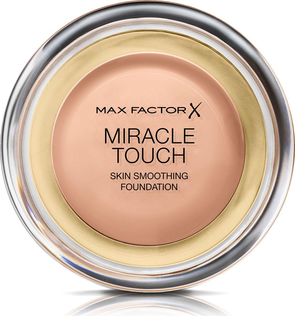 Max Factor Тональная Основа Miracle Touch Тон 55 blushing beige 11,5 гр81057Уникальная универсальная тональная основа Max Factor Miracle Touch обладает кремообразной формулой, благодаря которой превосходно подготовить кожу для макияжа очень легко. Всего один слой без необходимости нанесения консилера или пудры. Легкая твердая тональная основа тает в руках и гладко наносится на кожу, создавая идеальное, безупречно блестящее и равномерное покрытие, не слишком прозрачное и не слишком плотное. В результате кожа выглядит свежей, необычайно ровной и приобретает сияние. Чтобы создать безупречное покрытие, можно нанести всего один легкий слой тональной основы или же сделать покрытие более плотным благодаря специальной формуле. Тональная основа подходит для всех типов кожи, включая чувствительную кожу, и не вызывает угревой сыпи, так как не закупоривает поры. Спонж в комплекте для простого и аккуратного нанесения где угодно. Идеальное покрытие в один слой - консилер и пудра не нужны. Умеренное или плотное покрытие благодаря специальной формуле. Не вызывает угревую...